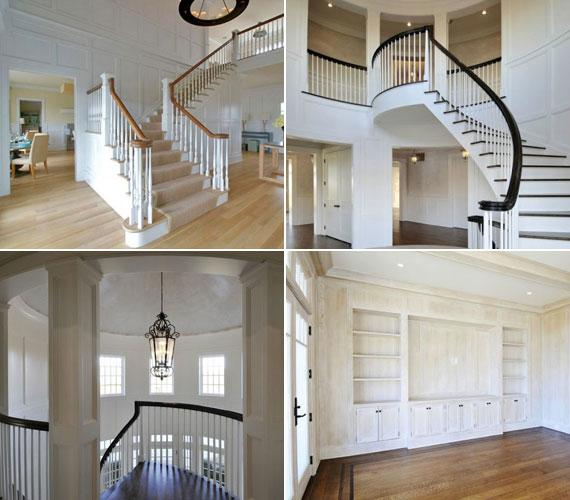 A ház belső kialakításában sok fát használtak, azok fehér színűre lettek festve.