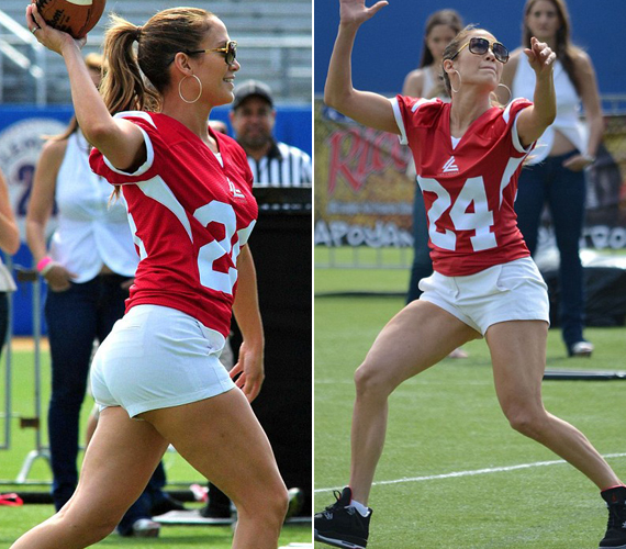 Jennifer Lopez egyedüli nőként szállt be a mérkőzésbe, és talán a taktika része volt, hogy egy falatnyi nadrágot vett fel, ami miatt mindenki csak rá tudott figyelni.