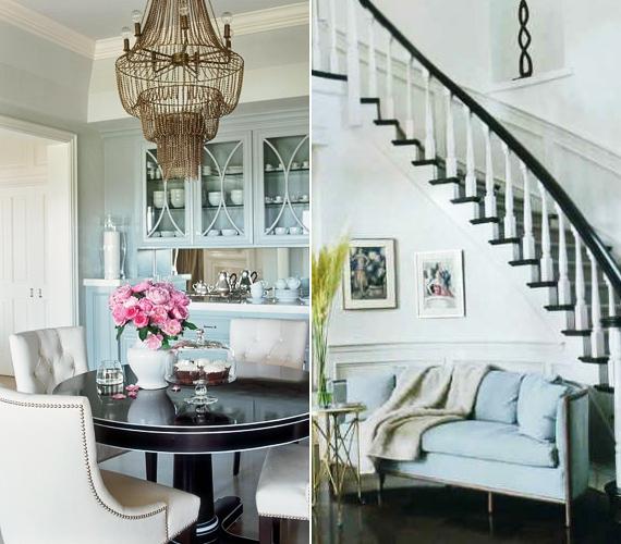 A villába belépőt kifinomult francia sikk fogadja, míg a fekete-fehér kombinációja és a fényes, kerek asztal a húszas éveket idézi.
