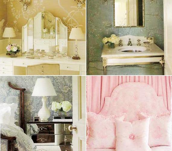 Halvány színek, elegáns bútorok, finom, nőies kiegészítők, virágok és tükrök díszítik a ház úrnőjének hálóját és fürdőszobáját.