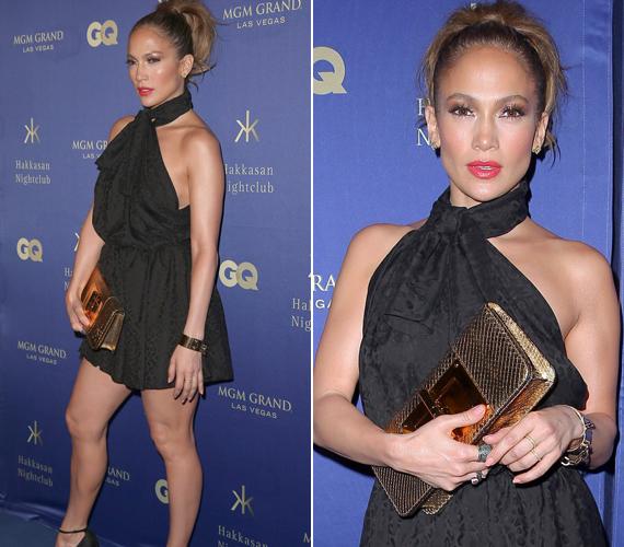 Az étteremmegnyitón minden szem a kurta szoknyába bújt Jennifer Lopezre tapadt.