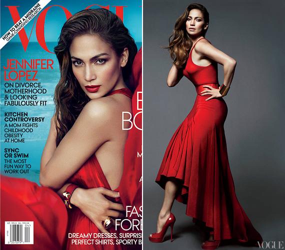 A Vogue-nak 2012 áprilisában pózolt, szintén vörös ruhában - a képeket kísérő interjúban pedig anyaságról, Marc Anthonytól való válásáról és arról mesélt, mitől tud még mindig ennyire irigylésre méltóan kinézni.