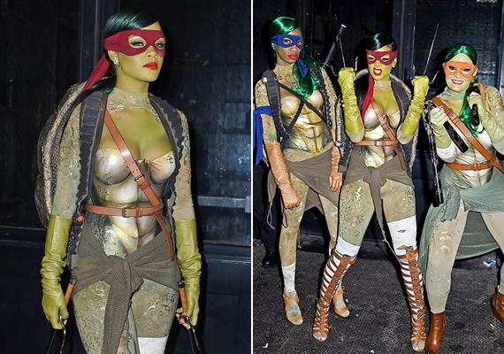 Rihanna Tini nindzsa teknősnek öltözött idén. Igazán vagány Raffello volt az énekesnő.