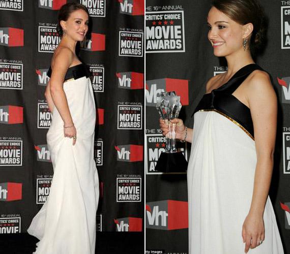 Natalie Portman még állapotosan viselte ezt az estélyi ruhát, gyönyörű volt benne.