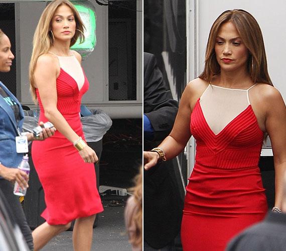 Szexi vörös ruhájához drapp magassarkút párosított.