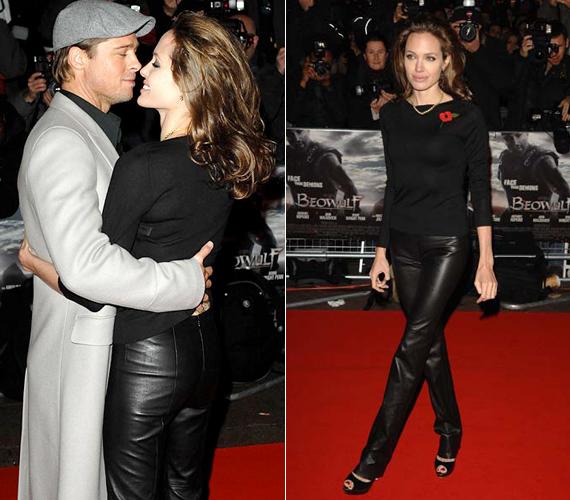 A 39 éves Angelina Jolie mindig is nagyon szerette a szűk bőrnadrágokat, a fenti kép pedig bizonyítja, Brad Pittnek sincs ellenére, ha gyermekei anyja ilyen ruhába bújik.