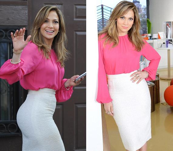 A testre simuló, fehér szoknya jól kiemeli a 44 éves énekesnő idomait, a pink felső pedig különösen jól állt barna hajához.