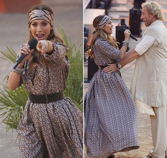 A világhírű énekesnő igazi dívaként egy lovaskocsival érkezett a Coliseo Balearba, ahol főként bikaviadalokat szoktak tartani.