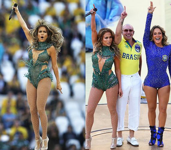 A vb-megnyitóra az énekesnő egy testhezálló, zöld, mélyen dekoltált dresszt választott, hozzá pedig gyöngyökkel díszített harisnyát húzott, kiegészítve egy Louboutin cipővel. Érdekesség, hogy a We Are One dalban Jennifer Lopez mellett a brazilok nagy kedvence, Claudia Leitte is énekel, de Lopez simán lemosta a színpadról a nála 11 évvel fiatalabb sztárt.