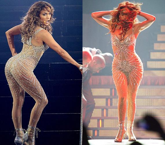Jennifer Lopez imádja a testhezálló ruhákat a színpadon, sőt, az átlátszó szerelésektől sem riad vissza. Híres hátsó felét pedig élvezettel mutatja meg a közönségnek, ahogy tette azt ezen a koncerten is.
