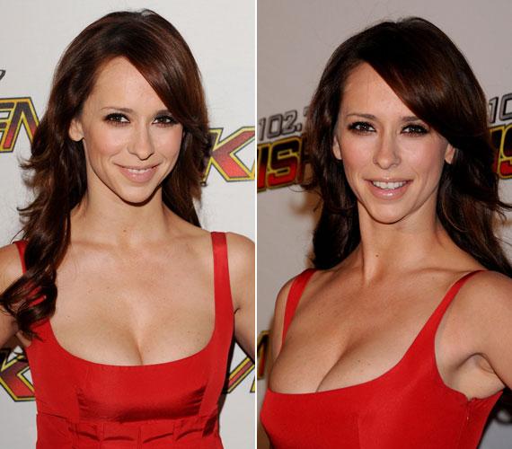 A mell alatt húzott ruha kiemelte a színésznő páratlan dekoltázsát, amellyel természetes frizurája és finom sminkje nem kívánt vetekedni.