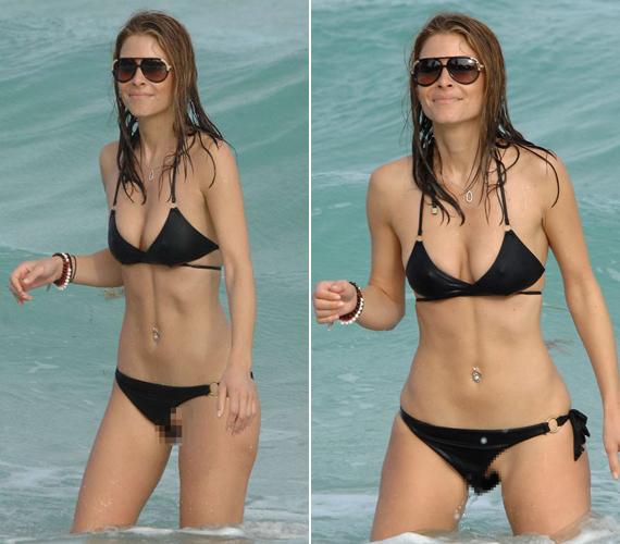 Egy másik műsorvezető, Maria Menounos is hasonlóképpen járt, neki a bikinialsója csúszott el.
