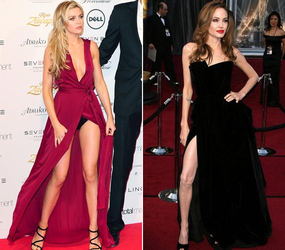 Abbey Crouch modell Angelina Jolie-t szerette volna másolni, ám pózolás közben szétnyílt a ruhája.