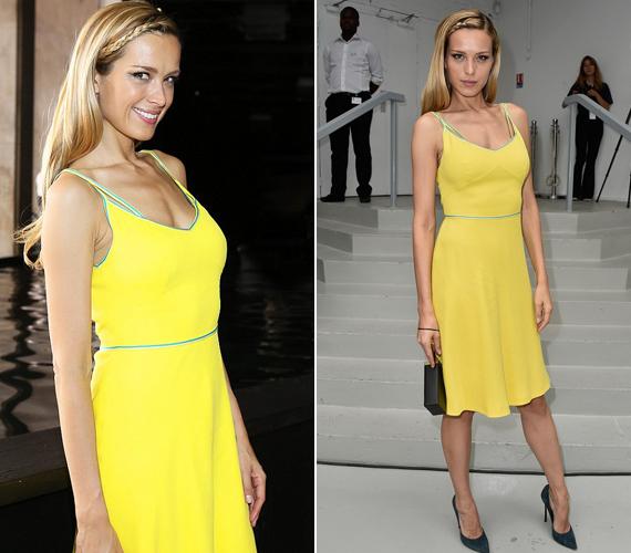 A híres cseh modell, Petra Nemcova szerda estére vette fel ezt a fakó, sárga ruhát, ami szintén nem nyerte el mindenki tetszését.