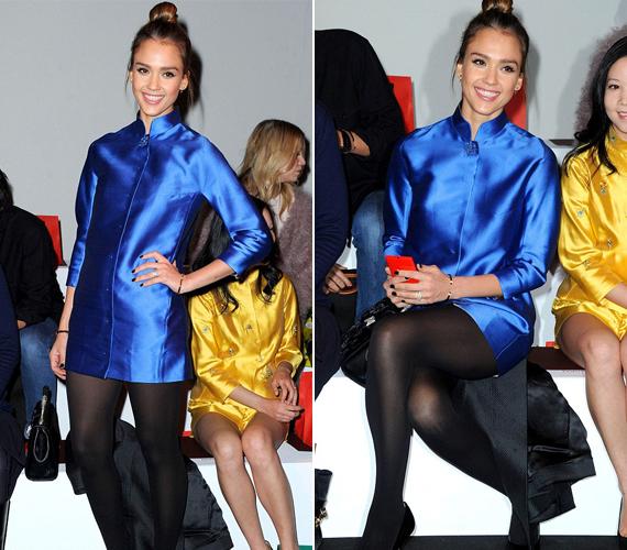 Bár nem híve a merészségnek, az egyik párizsi divatbemutatóra igen kurta ruhácskában érkezett.