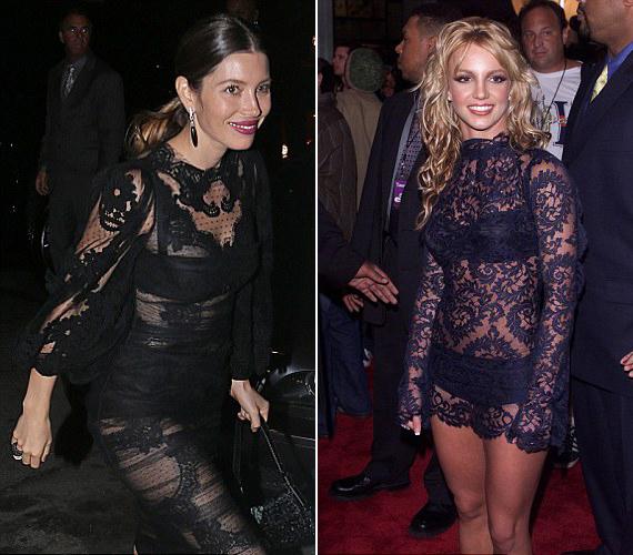 Jessica Biel és Britney Spears is egy Dolce & Gabbana csipkeruhát választott a díjátadóra - bár 12 év eltéréssel.