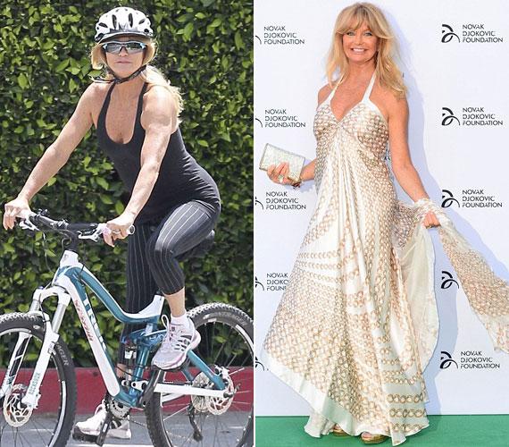 A 67 éves Goldie Hawn még mindig sokat sportol, ami alakján is meglátszik - két héttel ezelőtt a Novak Djokovic Foundation Londonban megrendezett gáláján nem csoda, hogy ámulatba ejtette a közönséget krémszínű ruhájával.