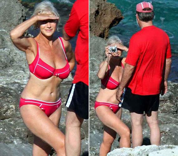 A 67 éves Helen Mirrent ugyancsak piros bikiniben még 2008 nyarán egy lesifotós kapta le - a nők azonnal megrohamozták a boltokat a képen látható ruhadarabért.