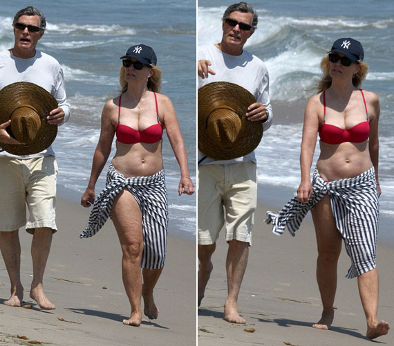 A kétszeres Oscar-díjas és ötszörös Golden Globe-díjas színésznő júliusban a malibui strandon vonta magára a tekinteteket tűzpiros bikinijében.