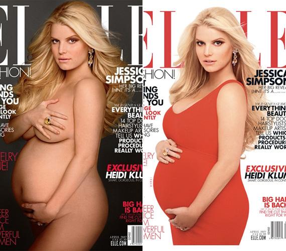 Mint annak idején Demi Moore a Vanity Fair címlapján, Jessica Simpson is megmutatta magát meztelenül, mégpedig az Elle magazin borítóján.