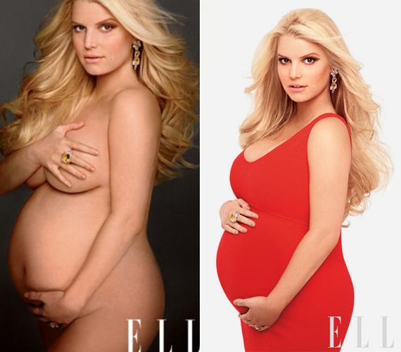 Csatlakozott Demi Moore-hoz, Britney Spearshez és Cindy Crawfordhoz: terhesen hatalmas babapocakkal pózolt a ELLE magazinnak.