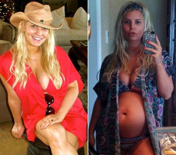Jessica Simpson csak 2012. május 1-jén adott életet kislányának, de máris a második babával várandós, amit rendkívüli lelkesedéssel dokumentál. Melleit általában előtérbe helyezi ezeken a képeken.