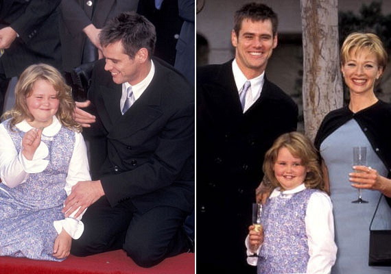 Duci kislányból dögös nővé érett Jim Carrey lánya. A fotó 1995-ben készült, a színész második feleségével, Lauren Hollyval és nyolcéves kislányával a Hollywood Boulvard-on, miközben kézlenyomatot vettek tőle.