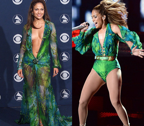 Szinte hihetetlen, hogy már 14 éve volt az a bizonyos emlékezetes Grammy-gála, benne Jennifer Lopez, no és a Versace-estélyi. Az élénkzöld ruhát megidéző dressz kiválóan hangsúlyozta az énekesnő nőies alakját.