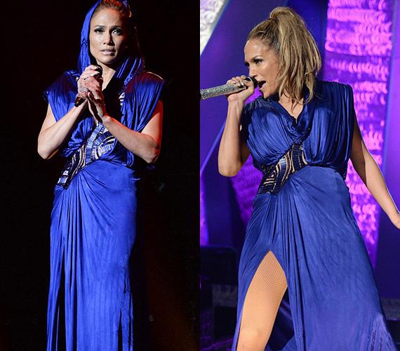 A koncert közben egy gyönyörű, földig érő kék ruhában is színpadra lépett, ám azért a huncut, combközépig érő felvágás mutatta, nem szelídült a sztár annak ellenére sem, hogy már kétgyermekes édesanya.