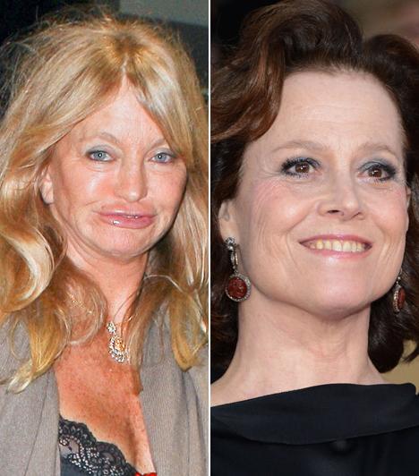 Goldie Hawn és Sigourney Weaver                         A két színésznő között pusztán 4 év korkülönbség van. Goldie Hawn azonban kétségbeesve próbál fiatal maradni, aminek igen groteszk lett az eredménye.                         Kapcsolódó cikk:                         Kínos képeken a 68 éves színésznő! Melltartó nélkül vette fel a felsőt