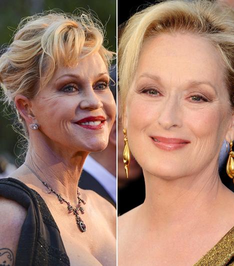 Melanie Griffith és Meryl Streep                         Melanie Griffith megszállottan szeret a plasztikai sebészhez járni, ám házasságát így sem tudta megmenteni. A színésznőtől 8 évvel idősebb Meryl Streep, aki viszont szereti a ráncait, és ha volt is beavatkozása, az nem fedezhető fel az arcán.                         Kapcsolódó cikk:                         63 évesen is az est szépe! Meryl Streep tűzpiros ruhában tündökölt
