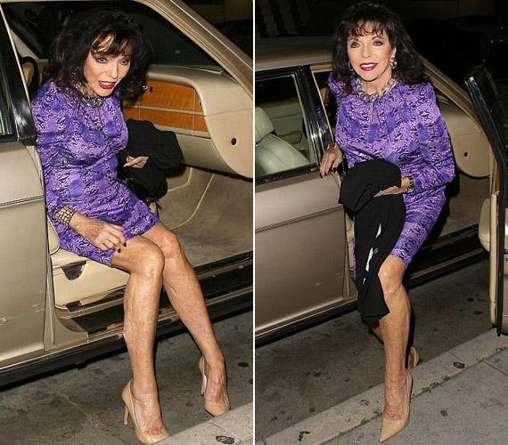 Joan Collins imádja az vadállatmintás ruhákat, kedden is egy ilyen miniruhában szállt ki a híres hollywoodi Mr. Chow étterme előtt.