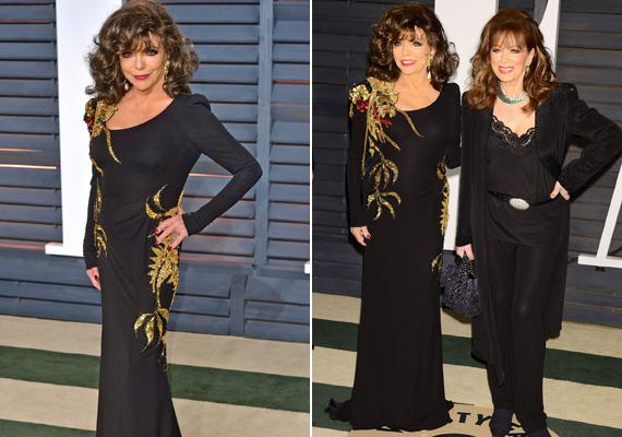 Az idei Oscar-gála afterpartiján pózol lányával, Jackie Collinsszal. Joan már dédnagymama lehetne, de alakja még mindig fantasztikus.