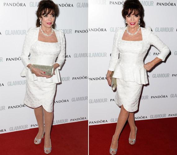 Hófehér ruhájával az este legszebb idős színésznője volt.