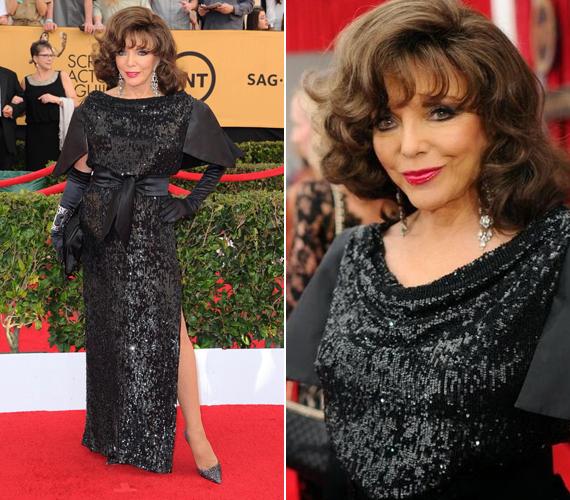 Ebben a ruhában látogatott el Joan Collins a 2015-ös SAG-gálára még januárban. Az elegáns ruha majdnem mindenkinek tetszett, számos magazin mutatta be - mint az est egyik legszebb darabját.
