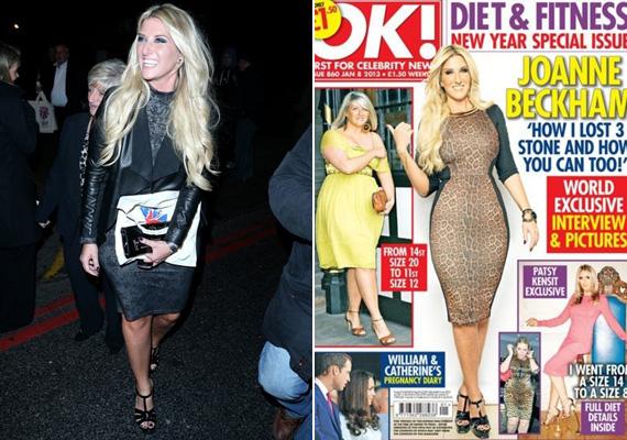 Joanne Beckham az OK! magazinnak az interjúban azt is elárulta, hogyan sikerült 20 kilót leadnia, és a 20-as ruhaméretről 12-esre váltania.