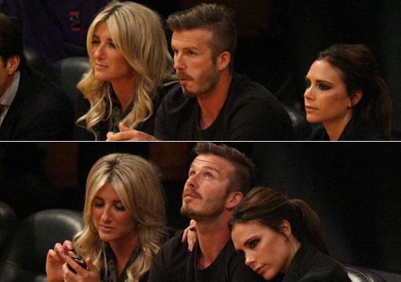 Joanne, David és Victoria Beckham egy focimeccsen. A divatikon sógornő még sminkelési tanácsokkal is ellátta férje húgát, így az most nemcsak sokkal karcsúbb, de nőiesebb is.