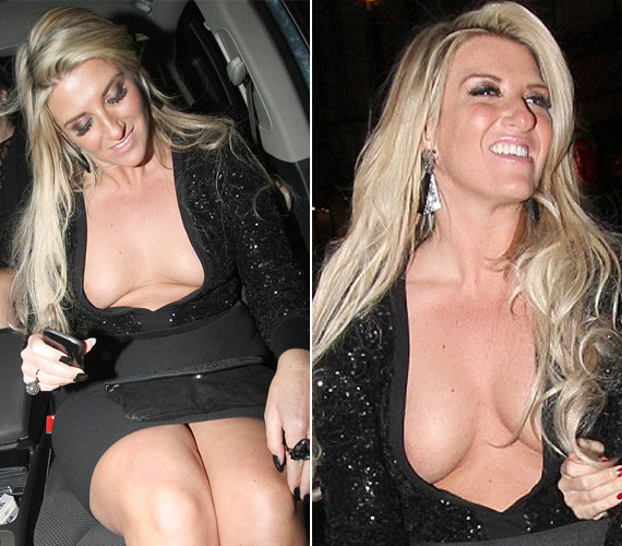 Joanne Beckham egyáltalán nem zavartatta magát amiatt, hogy majdnem kiestek a mellei a ruha kivágásából.