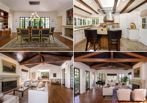 A tágas tereket a levegősen elrendezett fehér bútorok és a barna fagerendák kötik össze.