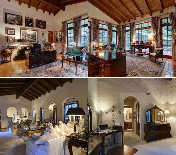 A fehérre meszelt falak és a sok faelem együttesen erősítik a rusztikus hatást. A házban minden helyiségben fagerendák díszítik a mennyezetet, de sötét fából készültek a bútorok is.