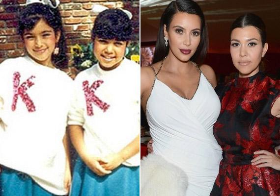 Kim és Kourtney Kardashian gyerekként is egymást majmolták.