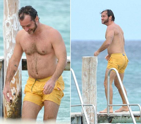 Ha nem tudnánk, hogy ő Jude Law, talán el sem hinnénk. Erősen ritkuló hajának és pocakjának köszönhetően egy átlagos középkorú férfinak tűnik.