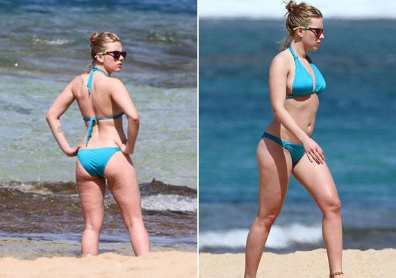 A 31 éves Scarlett Johansson éppúgy szenved a narancsbőrtől, mint bármelyikünk. Azonban ő nem ijed meg ettől: bátran flangál bikiniben a tengerparton.