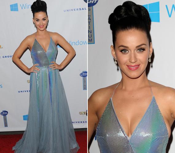 Katy Perry egy kék Giorgio Armani darabot is felvett az este.
