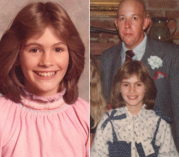 A képen nevelőapjával látható, akitől édesanyja a kegyetlen bánásmódra hivatkozva 1983-ban vált el.