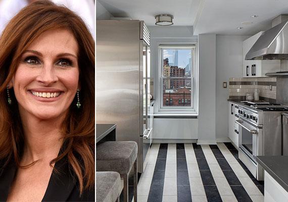 New York-i lakásában ez a mutatós, csíkos járólapos, modern összhatású konyha szolgáltat helyszínt Julia Robertsnek a főzéshez.