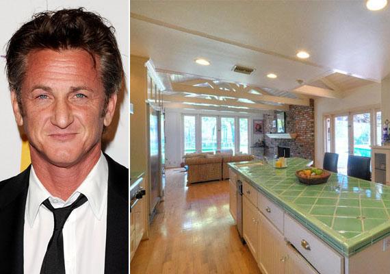 Sean Penn malibui otthonában frissességet sugárzó mentazöld munkalap és sok-sok ablak teremt kedvet a főzéshez.