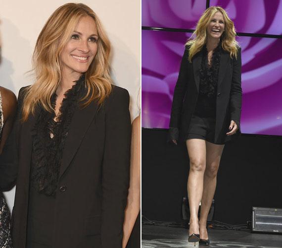 A Lancôme márka nyolcvanadik születésnapjára szintén fekete ruha után nyúlt a 48 éves színésznő, de ezúttal formás lábait is megmutatta ebben miniben.