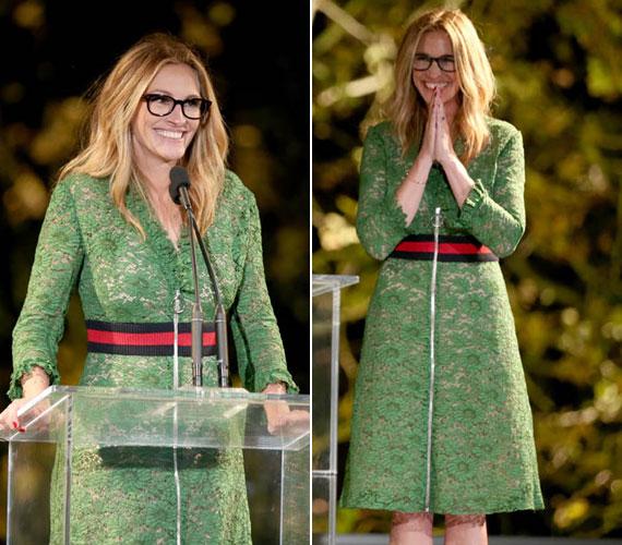 Az Instyle Awardson a színésznő lecserélte a feketét, és egy üde, zöld csipkeruhában jelent meg. A piros övrész megtörte a ruha egyszerűségét, és rendkívül modern összhatást ért el.