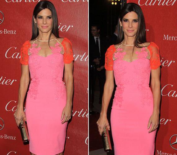 Sandra Bullock rózsaszín ruhája enyhén bántja a szemet.